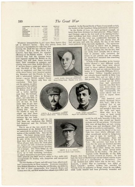 1917 WW1 ROLL OF HONOUR Basil Radford ERSKINE LINDOP John Lauder REGINALD TIDDY (550)